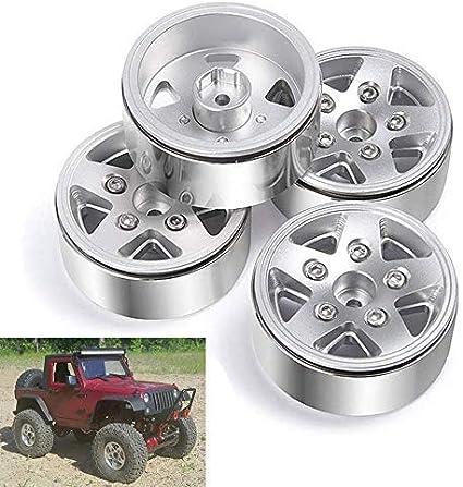 4pcs RC 1.9/'/' Beadlock Wheels rims Metal For 1//10 RC 4WD Axial 1.9 Crawler Tires