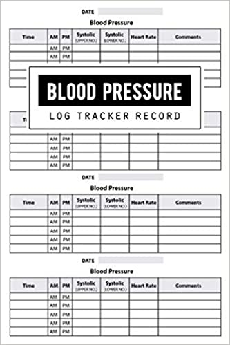 Blood Pressure Log Record Health Planner Blood Pressure Tracker