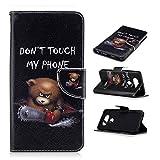 LG V20 Phone Cases Wallet Design, Kehon Slim PU Leather TPU Rubber Kickstand LG V20 Cover Case With Credit Card Slot Holder Lanyard Magnetic Closure Flip Folio for LG V20(Black Bear)
