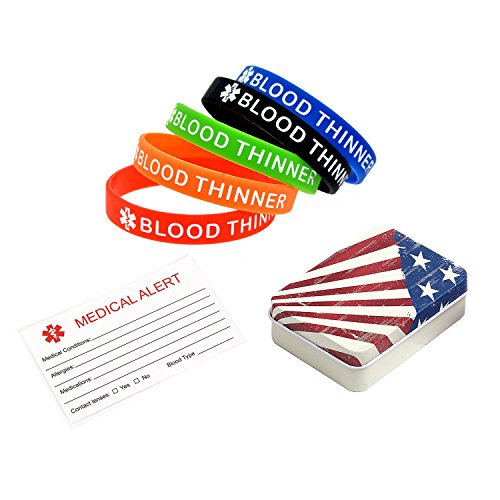 BAIYI Blood Thinner Medical Alert ID Bracelet Silicone Wristband for Women and Men 5 Pack