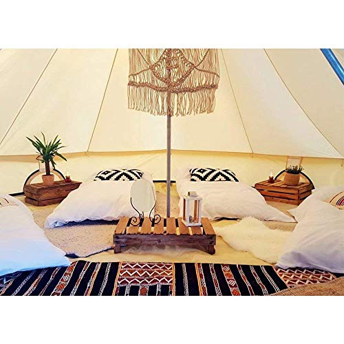 DANCHEL OUTDOOR Cotton Bell Tent with Front Awning, Footprint and Two Stove Jacket (Bell Tent High-pro, 16.4ft Diameter)