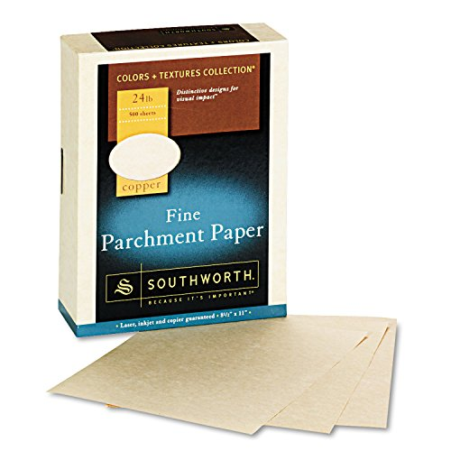 Southworth 894C - Fine Parchment Paper, 24 lbs., 8-1/2 x 11, Copper, 500/Box-SOU894C (Colors Textures Collection Parchment)