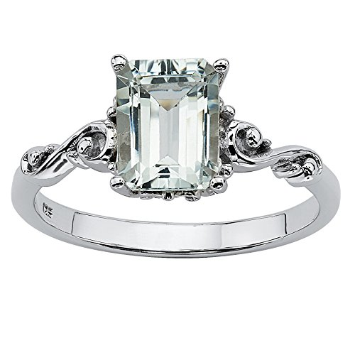 Emerald-Cut Genuine Aquamarine Platinum over .925 Silver Scrolling Shank Ring