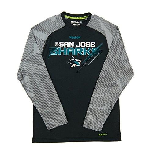 San Jose Sharks Reebok NHL 2015 Center Ice TNT Long Sleeve Performance Shirt (Reebok Coaches Mens Tee)