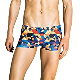 Wobuoke 2019 New Best Men Breathable Trunks Pants Beach Print Running Swimming Underwear Red