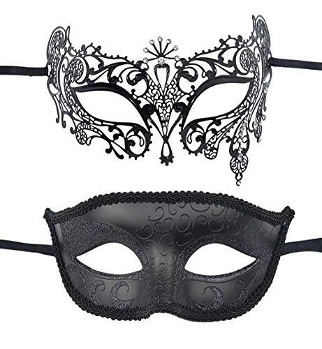 TANKEY 2 Pack Couple's Masquerade Mask Set Carnival Prom Mask Mardi Gras Party Mask (Black) (Masquerade Couple Masks)