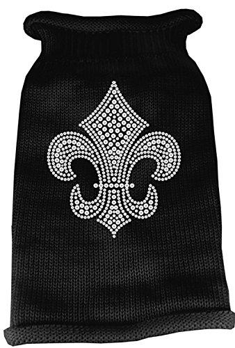 Mirage Pet Products Silver Fleur de lis Rhinestone Knit Pet Sweater, Large, Black