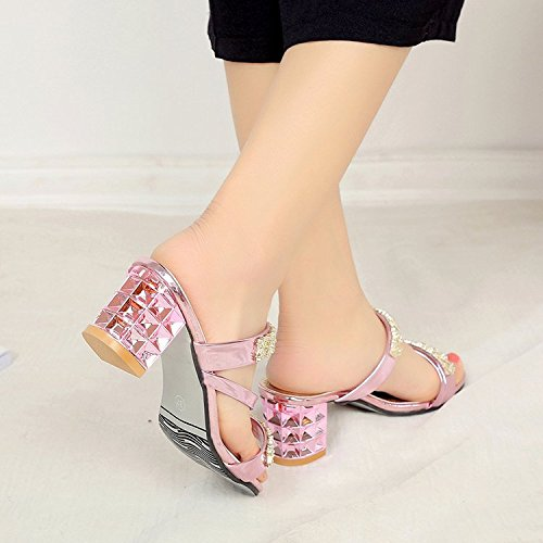 WHLShoes Thick Open women Breathable Non Fashion With Heels Black Summer With Female Wild Slip slippers Casual Toe Thick xx8rg5qEw