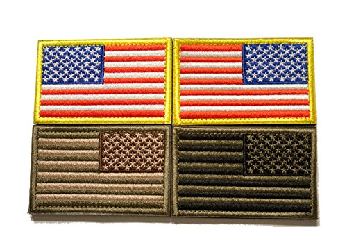 (Tekma Sport American Flag Hook and Loop Tactical Patch Combination Pack, Standard and Reverse)