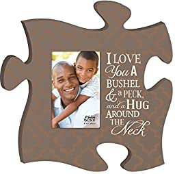 I Love You A Bushel and A Peck 4x6 Photo Frame Inspirational Puzzle Piece Wall Art Plaque