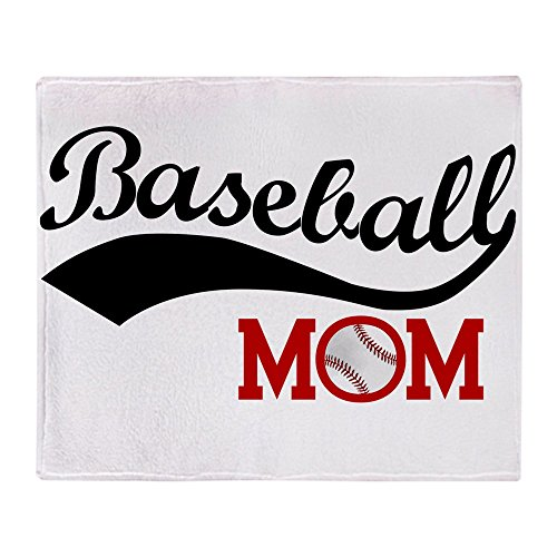 CafePress Baseball Mom Red/Black Wave Soft Fleece Throw Blanket, 50