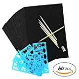 60 Pcs Colorful Rainbow Scratch Kit Art Paper with 5 Bamboo Stick Stylus Tools and with 4 Drawing Template Stencil Rulers Suitable for Kids DIY of All Ages