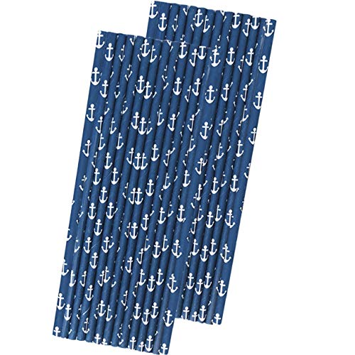 Anchor Nautical Themed Paper Straws - Navy Blue White - 50 Pack