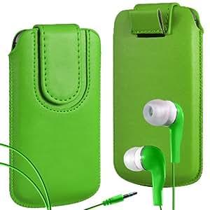Online-Gadgets UK - HTC Desire 500 superior de la PU del cuero del caso del tirón de la bolsa con pestaña cierre magnético y Coincidencia Auriculares ergonómicos - Verde