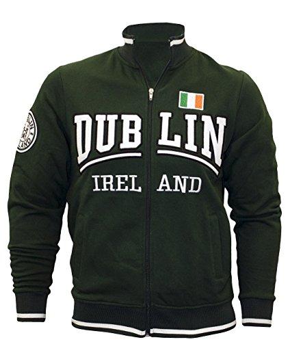 Carrolls Irish Gifts Full-Zip Sweater With Dublin Ireland Print & Tri Colour Flag, Green Colour