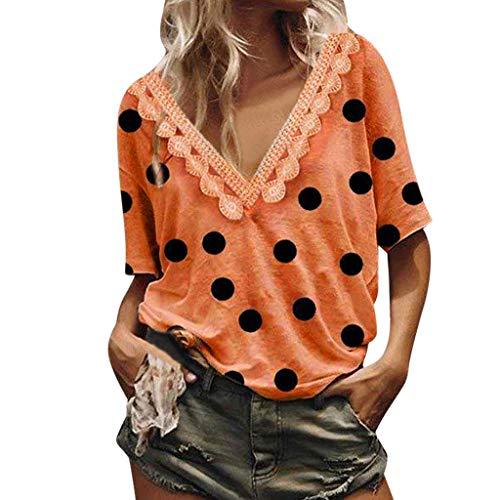 Aniywn Women's T-Shirt Dot Printing V-Neck Lace Short Sleeve Tops Summer Loose Tunic Shirt Blouse Orange ()