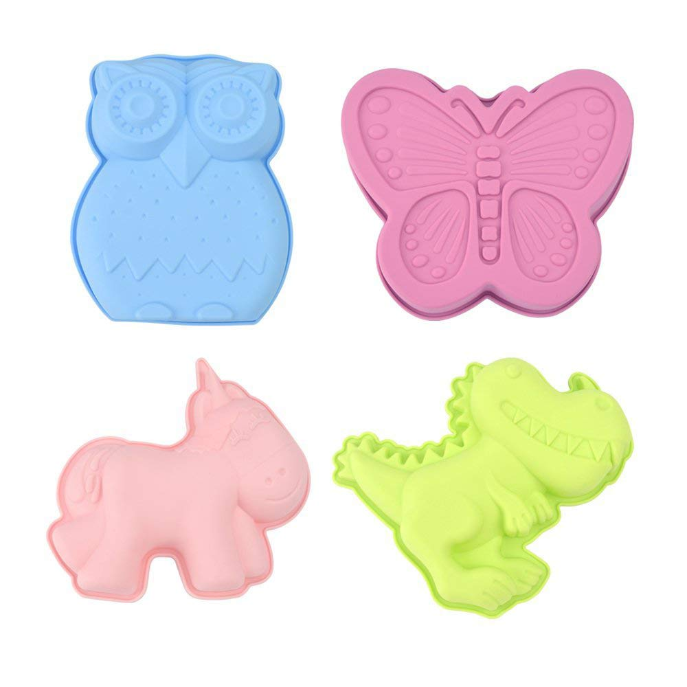 KALREDE Unicorn Cake Mold Set- 4 Piece Silicone Cake Molds include Unicorn, Dinosaur, Butterfly, Owl - Baking Molds for Cake - Kids Cartoon Animal Shape Mold( MultiColor)