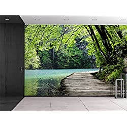 wall26 Bridge by a Lake Surrounded by Trees - Wall Mural, Removable Sticker, Home Decor - 100x144 inches