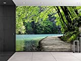 Wall26® - Bridge by a Lake Surrounded by Trees - Wall Mural, Removable Sticker, Home Decor - 66x96 inches