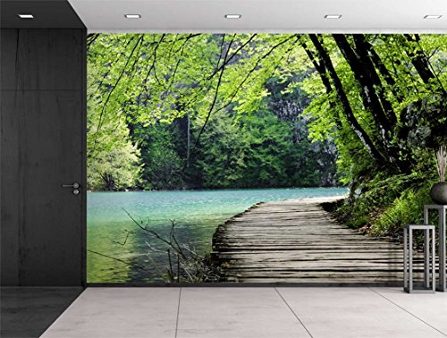 Bridge by a Lake Surrounded by Trees Wall Mural