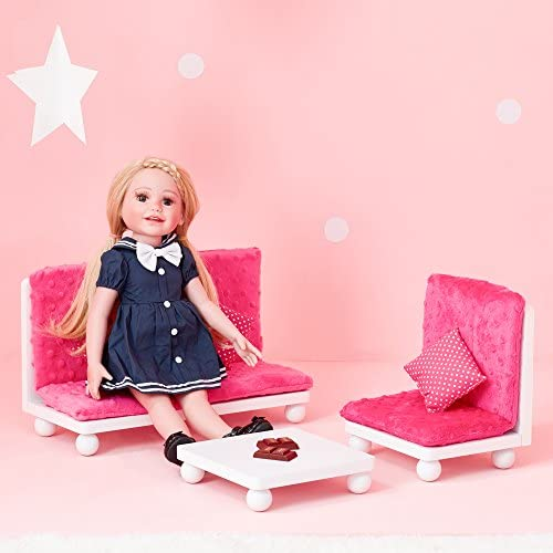 Olivia's Little World – 18 inch Doll Furniture Accessories Princess Sofa & Coffee Table Living Room Lounge Set with Pink Cushion Wooden