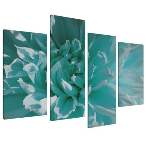 Teal Blue Chrysanthemum Flower Floral Canvas - Split 4 Piece - 51 Inches Wide - 4103 - Wallfillers (Furniture Bed Poster Standard)