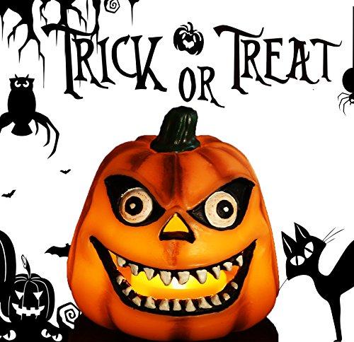 Jack O' Lantern, Halloween Pumpkin Decor Lantern with Battery Operated & Adjustable Timer Function for Halloween Decorations by HANPURE (Creepy (Creepy Pumpkin)