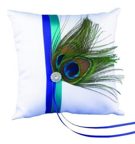 (Hortense B. Hewitt Wedding Accessories Ring Pillow, Peacock Plume)
