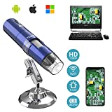 MoKo WiFi USB Digital Microscope Compatible with Windows/Android/iOS Devices, 1080P HD 2MP Camera, 50x to 1000x Magnification Mini Pocket Handheld Wireless Endoscope with 8 LED, Metal Stand - Blue