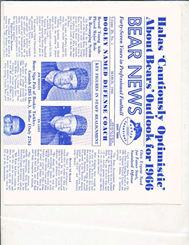 1966 march Chicago Bears News Newsletter; gale sayers vol 20#1 bxftother