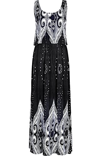 Peacock 2LUV Black Holiday Rhombus Maxi Floral Beach Dress Summer Resort Women's YArpY