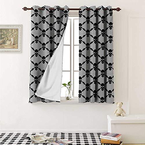 shenglv Gothic Waterproof Window Curtain Halloween Horror Theme Spooky Black Skulls Checkered Pattern with Skeleton Bones Curtains Living Room W55 x L45 Inch Black -