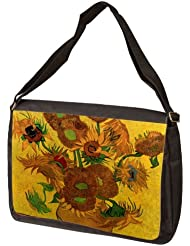 Still Life Vase With Fifteen Sunflowers By Vincent Van Gogh Laptop Shoulder Bag