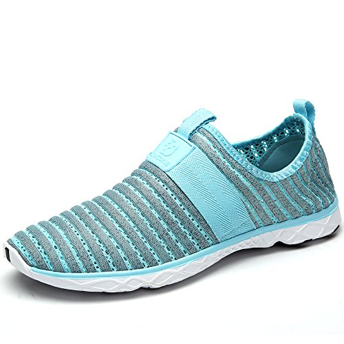 Water Sport Shoes Aleader Women's Tennis Walking Shoes Gray Blue 9 D(M) US