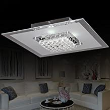 Modern Creative Round Glass Flush Mount Crystal Chandelier LED Ceiling Light Fixture (Small)