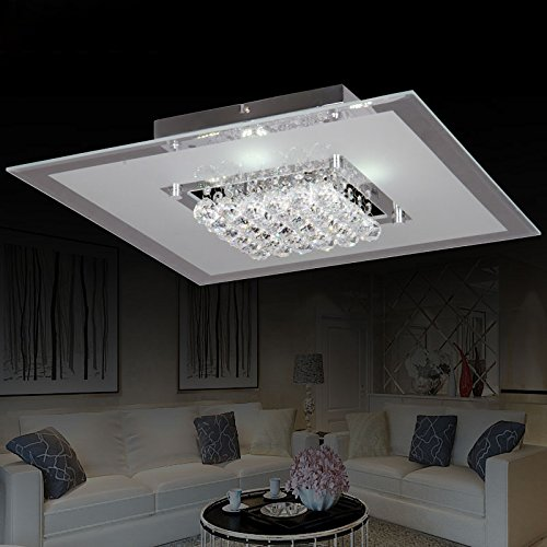 KunMai Modern Clear Crystal LED Square Flush Mount Ceiling Light Fixture (Large)