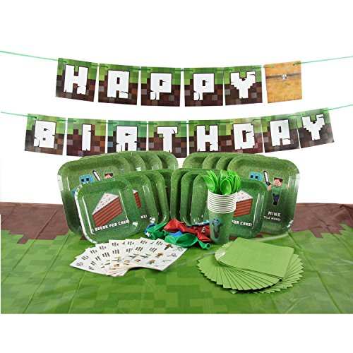 Deluxe Tableware Set for Pixel Mine Crafter Themed Party with HAPPY BIRTHDAY BANNER! (Service for 8) - Party Supplies - Plates, Cups, Cutlery, Napkins, Balloons, Table Cloth, 8 BONUS Gifts!