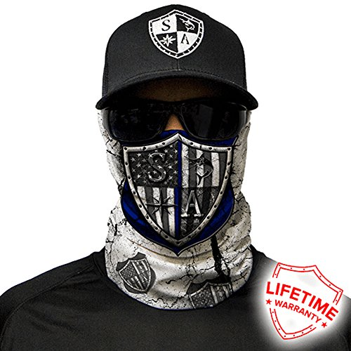 SA Company Face Shield Micro Fiber Protect From Wind, Dirt and Bugs. Worn as a Balaclava, Neck Gaiter & Head Band For Hunting, Fishing, Boating, Cycling, Paintball and Salt Lovers. - Blue Strong (Wind Balaclava)