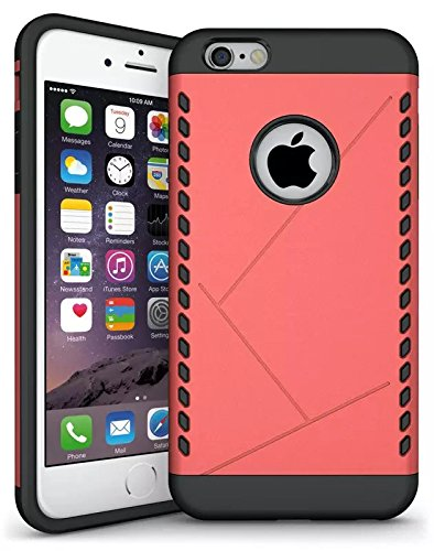 iPhone 6S Plus Case, Lantier Case Cool 2 en 1 double couche Combo souple TPU Bumper + PC Shell Shock Absorption Slip Case Slim mince Armure Anti pour Apple iPhone 6 Plus, iPhone 6S plus Aegis Rouge