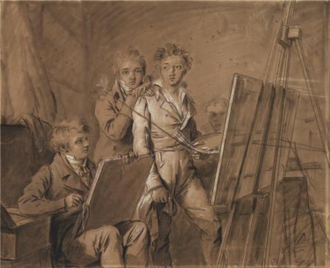 3つのポリエステルキャンバス地の油絵Young Artists in a studio、について1820by louis-leopold Boilly」、サイズ: 12x 15インチ/ 30x 38cm、この模造品アートDecorativePrintsキャンバスはフィットforダイニングルーム装飾、ホーム装飾、ギフトの商品画像