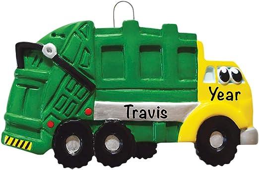 PERSONALIZED CHRISTMAS ORNAMENT TREE Bulldozer Truck Yellow Child Kid Toy