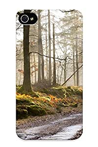 Creatingyourself Rugged Skin Case Cover For Iphone 4/4s- Eco-friendly Packaging(morning Forest Mist Road Autumn )