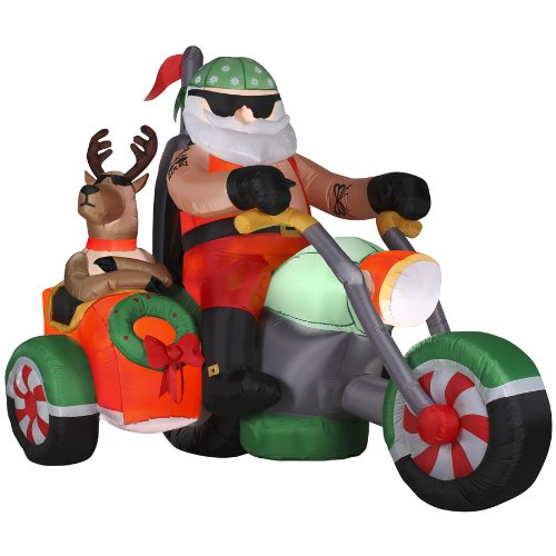 Gemmy ft inflatable airblown santa on motorcycle with