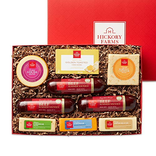 Hickory Farms Meat & Cheese Large Gift Box | Gourmet Food Gift Basket Perfect For Family, Birthday, Sympathy, Congratulations Gifts, Retirement, Thinking of You, Business and Corporate Gifts