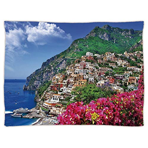Sofa Amalfi (Yaoni Super Soft Throw Blanket Custom Cozy Thickened Blanket,Italy,Scenic View of Positano Amalfi Naples Blooming Flowers Coastal Village Image,Pink Green Blue,Suitable for Sofas,beds)