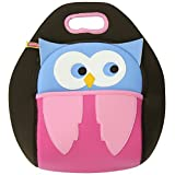 Dabbawalla Bags Hoot Owl Kids' Insulated Washable & Eco-Friendly Lunch Bag Tote Pink/Brown/Blue by Dabbawalla Bags