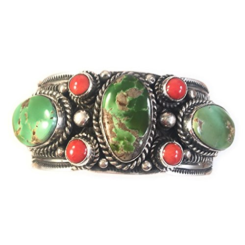 - Nizhoni Traders LLC T. Jon Royston Turquoise Coral Sterling Silver Cuff Bracelet Signed