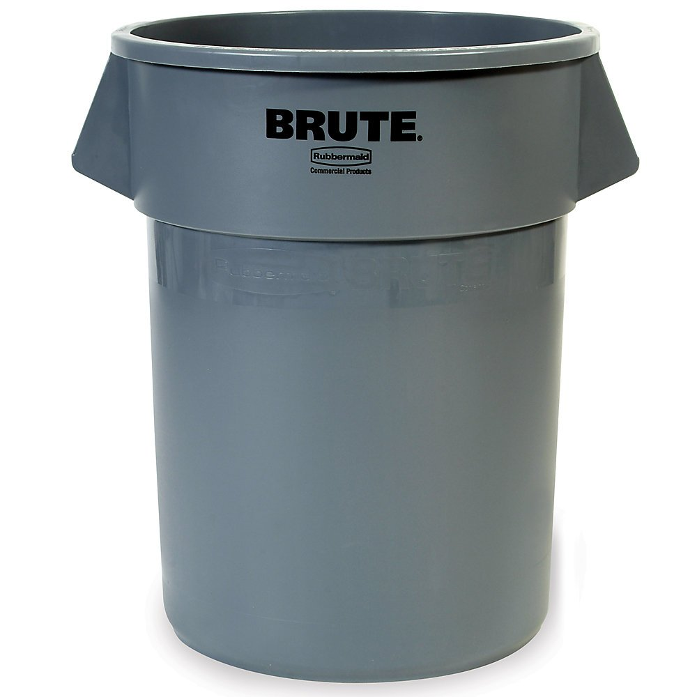 RUBBERMAID FG262000GRAY Brute Round Container, 20 gal Capacity, Gray