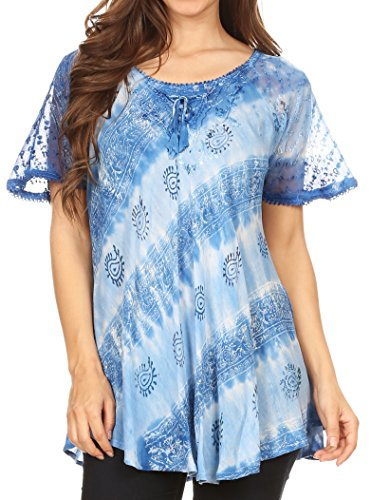 Sakkas 18708 - Flavia Womens Everyday Blouse Top with Tie-dye & Block Print Light and Soft - Light Blue - OSP