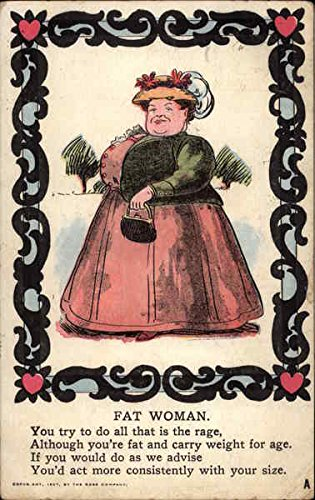 Fat Woman Wearing Fancy Hat and Carrying Purse Fat People Original Vintage Postcard from CardCow Vintage Postcards